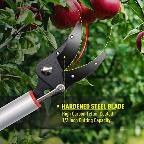Hortem Long Reach Pruner Set, 35-Inch Hold Long Reach Cut Garden Tree Pruner with Flexible Hand Grip and Lightweight Bypass Pruning Shear, Gardening Shears for Lawn Care
