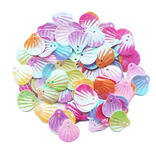 ZIJING 300 pcs Cute Adroable Mix Color Sea Shell Shape Loose Sequins Spangles Paillettes DIY Scrapbooking Craft Applique Embellishment