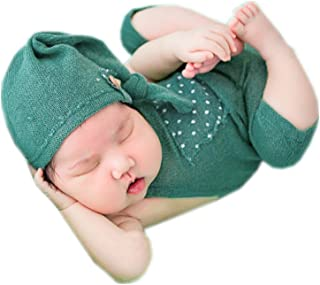 Infant Newborn Monthly Baby Boys Girls Knit Photography Props Hat with Rompers Outfits Set