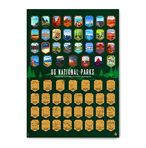 US National Parks Scratch Off Poster- National Parks Scratch Off Poster with Scratching Tool -...