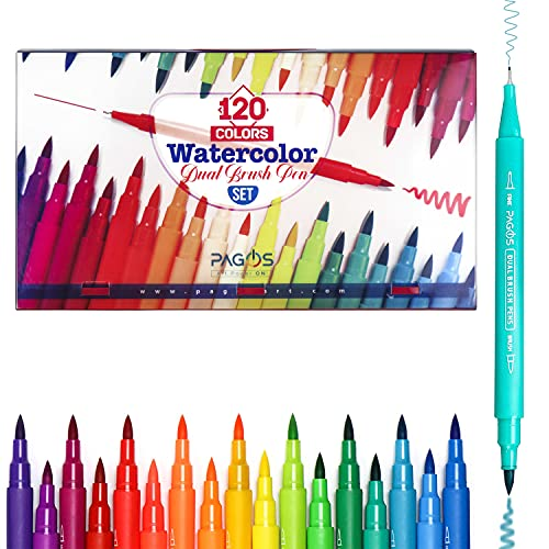 Pagos 120 Colors Dual Brush Pens Set | Watercolor Art Markers | Fine & Brush Tip Pen For Coloring Books Drawing Lettering Sketching Calligraphy Bullet Journal | Gift Sets For Adults Kids