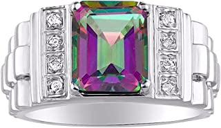 RYLOS Mens Rings Sterling Silver Designer Style 10X8MM Emerald Cut Shape Gemstone & Genuine Sparkling Diamonds Color Stone...