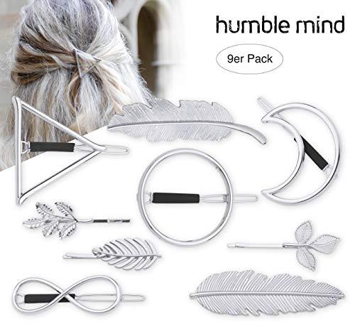 51zz+EbMUJL - 9er Set hochwertige minimalistische Haarspangen von Humble Mind, Haarschmuck - Kreis, Dreieck, Mond, Unendlichkeit, 3x kleine Spangen und 2xFeder in silberner Farbe (silber)