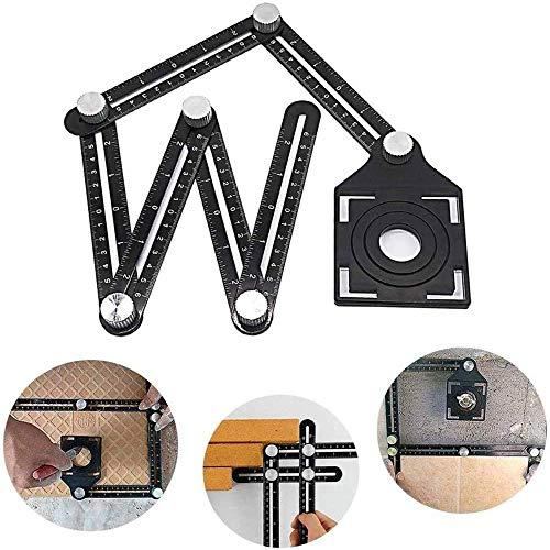 YUNZUN Localizador universal de medición de ángulo de seis lados, regla de múltiples ángulos, herramienta de diseño de regla de angularizador de aleación de aluminio angular universal para constructor