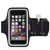 Ailun Phone Armband Compatible with iPhone 7 Feartured with Sport Scratch Resistant Material Slim Light Weight Dual Arm Size Slots Sweat Resistant Key Pocket with Headphone Ports Black