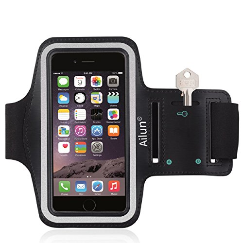 Ailun Phone Armband for iPhone 6 Plus,iPhone 6s Plus,Feartured with Sport Scratch-Resistant Material,Slim Lightweight,Dual Arm-Size Slots,Sweat Resistant&Key Pocket,with Headphone Ports[Black]