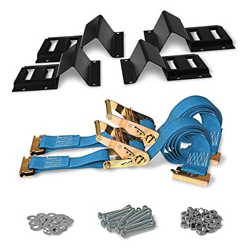 DC Cargo Mall ATV Wheel Chock & Strap Kit | Trailer Tie Down System for ATV's, UTV's, & Mowers