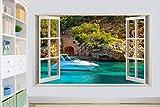 3D Mallorca Blue Sea Luxury Boat Pegatina Dormitorio Sala De Estar Vinilo Decorativo De Fondo Pegatina De Pared 20x27inch(50x70cm)