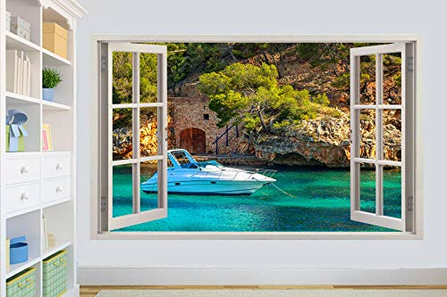 Pegatinas de pared Blue Ocean Barco de lujo 3D Window Wall Sticker Room Decoration Decal Mural