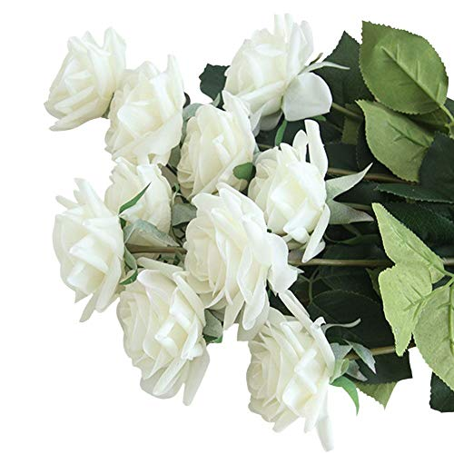 SHACOS 造花 ローズ バラの蕾 薔薇 シルク製 インテリア 本物そっくり リアル きれい 可愛い フラワーアレンジ ソフト触感 枯れない花 結婚式 プロポーズ 誕生日 バレンタインデー 母の日 家庭 転居 お祝い お見舞い プレゼント ホワイト 飾り 装飾 10本セット 花瓶は付きません (ホワイト, 10本セット)
