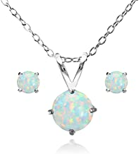 GemStar USA Sterling Silver Simulated White Opal Round Solitaire Necklace and Stud Earrings Set