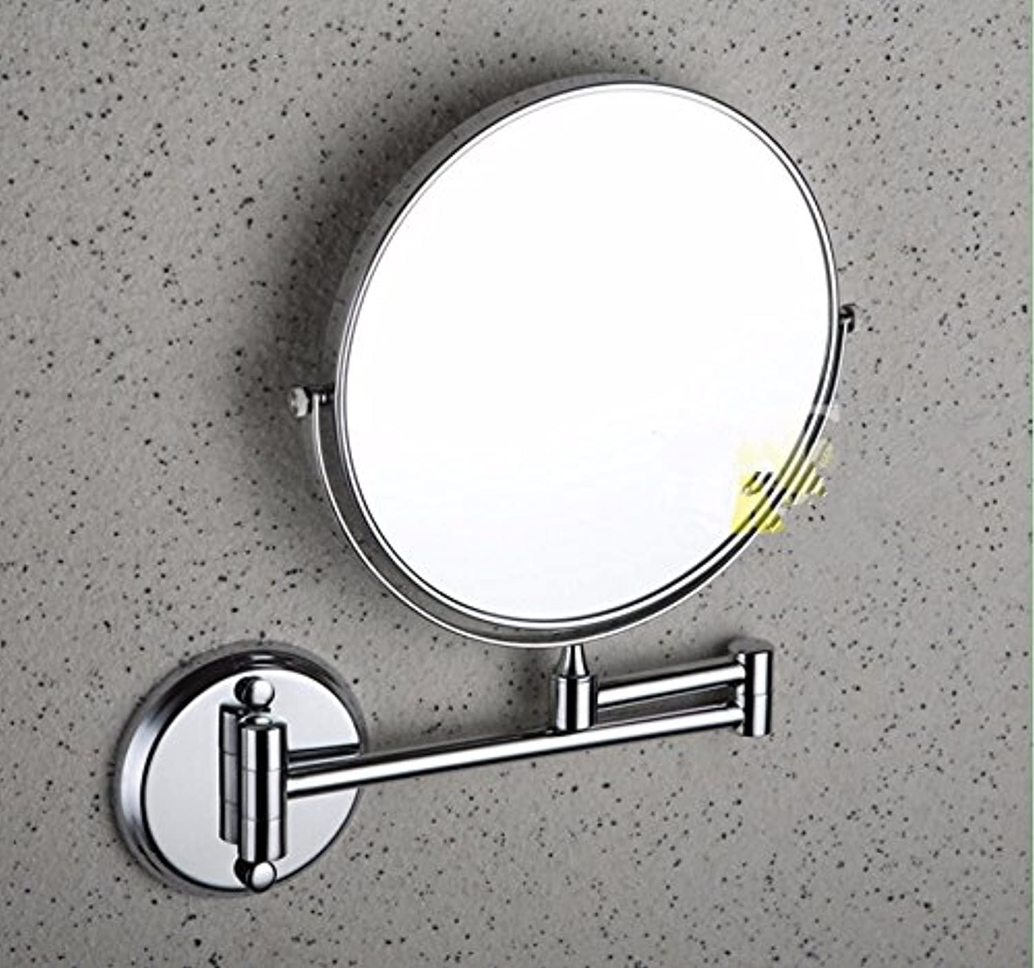 Brass chrome-plated 8-inch mirror bathroom mirror wall mounted folding mirror-8 inch A gentle rounded