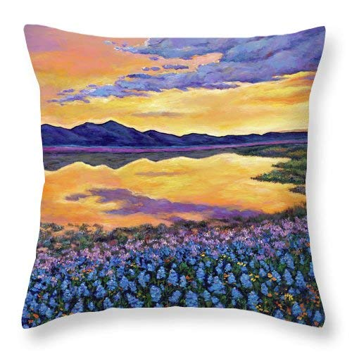 Lplpol Bluebonnet Rhapsody Throw Pillow Covers Cotton Linen Square Decorative Throw Cushion Cover 20 x 20