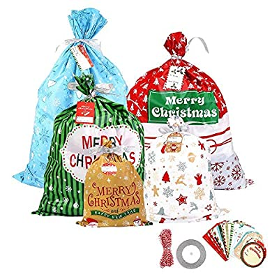 30 PCS Christmas Gift Bags Assorted Size Plastic Party Gift Wrapping Bags with Hanging Tags Cards for Kids Party Favors Supplies