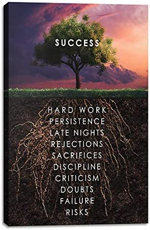 Yetaryy Success Tree Inspirational Quote Canvas Wall Art Motivational Motto Painting Inspiring product image