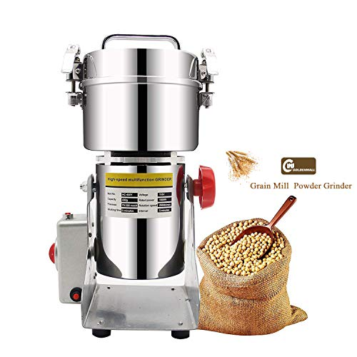 CGOLDENWALL 400g Mulino per Cereali Upgraded Open-Cover-Stop Unique Safety Design Grinder Elettrico per Materiale Secco Come Erbe/Cereali/Spezie 28000