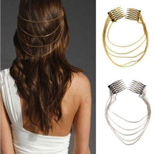 5starwarehouse ® Mesdames Argent ou Or Pince à cheveux Chaîne Longue manchette gland décoratif Peigne à cheveux Head Band Bandeau Femme A012