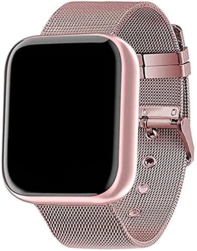 KANGNING Reloj inteligente Fitness Sport Smartwatch Correa de acero Rastreador de actividad con frecuencia cardíaca presión arterial para hombres y mujeres, color rosa totalmente adaptado