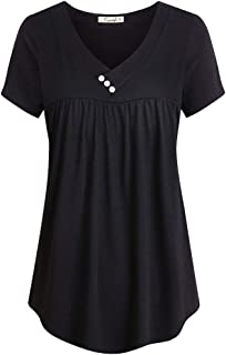 Cyanstyle Women's V Neck Short Sleeve Button Detail Pleated Shirt Tunic Blouse Top