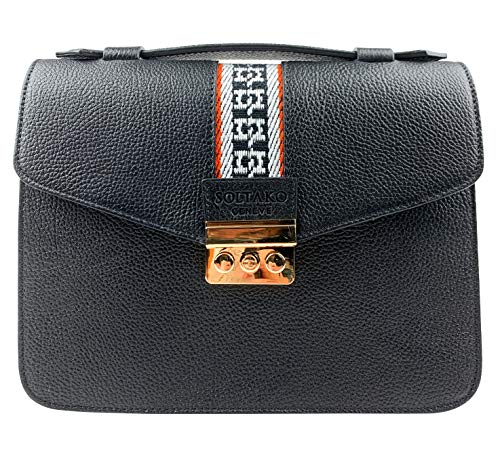 SOLTAKO Tanita (schwarz) | Hochwertige Damen Lederhandtasche Schultertasche Pochette Abendasche Ledertasche Handtasche City Bag aus echtem Rindsleder mit modischem Canvas, klassisch & elegant