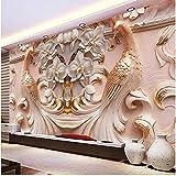 Yologg 3D Stereo Relief Flores De Pavo Real Mural Photo Wallpaper Sala De Estar Tv Sofá Estudio Telón De Fondo Arte Papel De Pared Para Paredes 3D Decoración Para El Hogar-200X140Cm