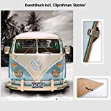 Kunstdruck Poster - Volkswagen VW Bulli Bus Camper Blau
