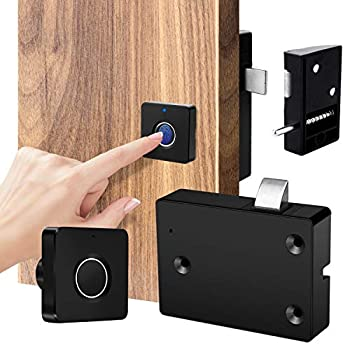 Smart Electronic Cabinet Locks Kit Set Fingerprint Lock for Box Furniture Drawer Lock Cupboard Home & Office Hidden File Cabinet Locks Keyless Biometric Cabinet Lock Replacement USB Rechargeable.