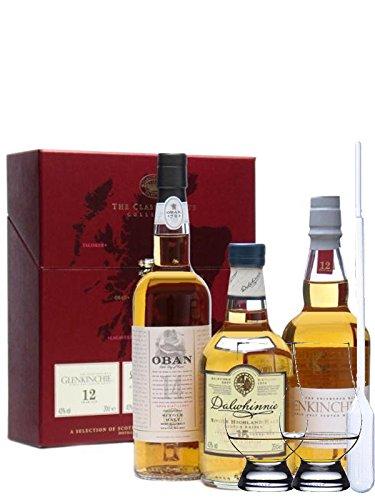 Classic Malts Collection Gentle 3 x 0,2 Liter + 2 Glencairn Gläser + Einwegpipette 1 Stück
