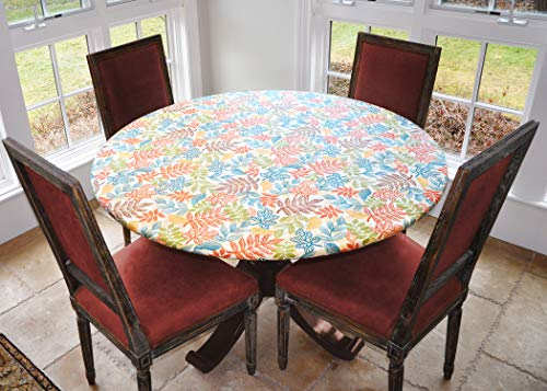 Covers For The Home Deluxe Elastic Edged Flannel Backed Vinyl Fitted Table Cover - Botanical Pattern - Large Round - Fits Tables up to 45' - 56' Diameter