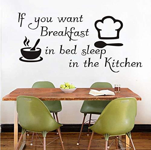 Keuken Stickers Als Je Op Het Bed Wilt Ontbijten Keuken Wanddecoratie Vinyl Kom Koksmuts Diy Decoratie 87X42Cm