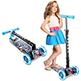 Caroma 3 Wheel Kick Scooter for Kids & Toddlers Girls and Boys, 3 Adjustable Height, 3 PU LED Flashing Wheels with Aluminum Alloy T-Bar Scooter for Kids Age 2-12 Years Old