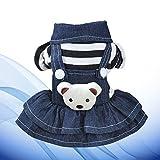 POPETPOP Pop etpop Vêtements pour Chien Petit Animal Domestique Chien Chat Chiot Denim Strap Ours Robe (XS)