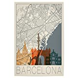 artboxONE Poster 60x40 cm Städte Retro Map Barcelona