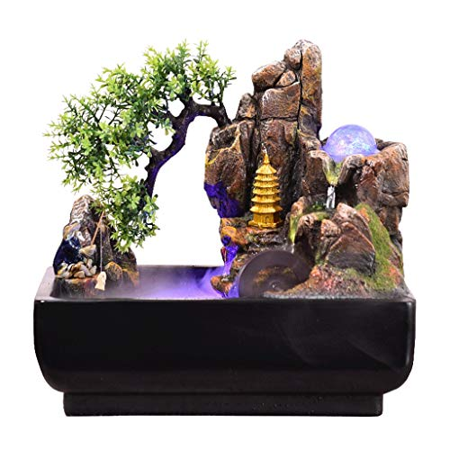 Zenglingliang Desktop Electric Water Fountain Desktop Hill Stone Fountain Indoor Three-Story Decorative Waterfall Fountain and Nebulizer Perfect Desktop Decoration Novelty Gift Decorative Waterfall