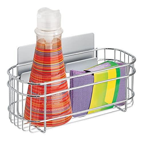 mDesign AFFIXX Estantes de cocina para lavavajillas, estropajos, etc. – Estantería metálica de pared autoadhesiva –...