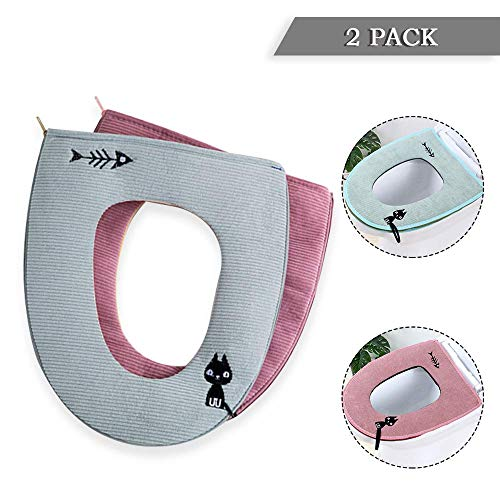 Surprising Dee Banna 2Pcs Universal Zipper Waterproof Antibacterial Leather Home Toilet Seat Cushion With Hanging Loop Bathroom Soft And Warm Washable Toilet Unemploymentrelief Wooden Chair Designs For Living Room Unemploymentrelieforg