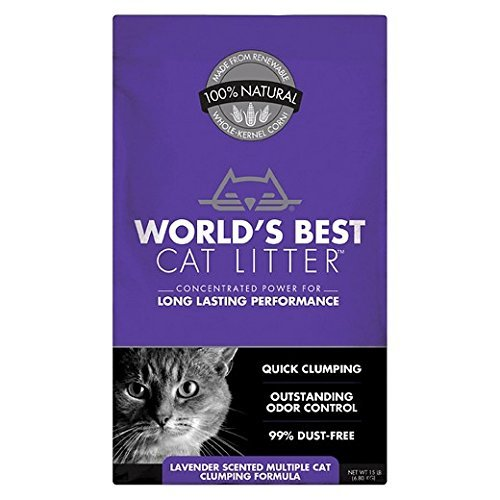 World's Best Cat Litter Long Lasting Performance Multiple Cat Clumping Formula, Lavender Scent, 15 lbs (pack 1)