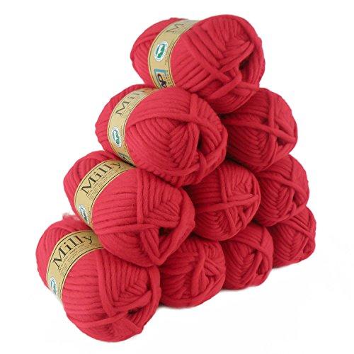 500g Filzwolle Milly Wolle zum Strickfilzen 100% Schurwolle, große Farbwahl, Farbe:21 ziegelrot