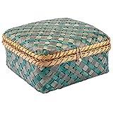 Decorasian Baúl trenzado de bambú – Baúl decorativo con tapa azul verde talla L