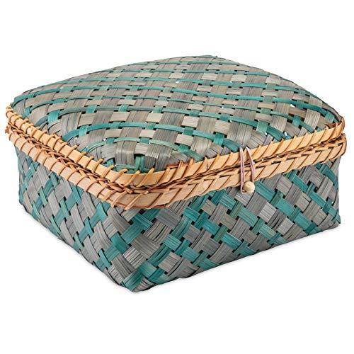 Decorasian Kiste geflochten aus Bambus - dekorative Truhe mit Deckel blau grün Größe L