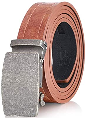 "Marino Ratchet Genuine Leather Belt for Men - Casual Belt - Jean Perfect Belt - Tan Leather - Custom: Up to 44"" Waist"