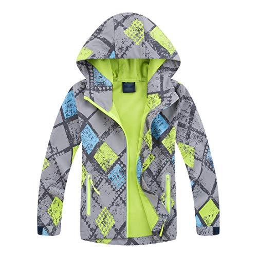 LAUSONS Jungen Softshelljacken für Kinder Windjacke Regenjacke Wasserdicht Übergangsjacke mit Kapuze Größe M