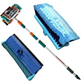 3M Heavy Duty ALUMINIUM TELESCOPIC Water Fed 9 Feet Extendable Car Van Trucks Caravans Conservatories Boats, Decking Wash Window Cleaning SQUEEGEE Brush Soft Cushioned Grip UK FREE P&P