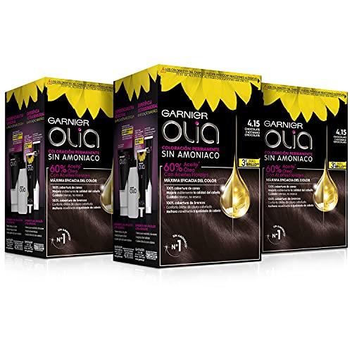 Garnier Olia - Pack de 3 coloración permanente sin amoniaco para un olor agradable con aceites florales de origen natural, color tono 4.15 chocolate