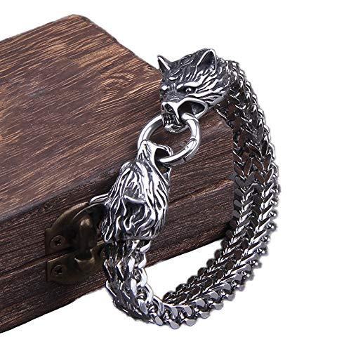 NICEWL Viking Double Wolf Head Armband Aus Edelstahl Für Herren, Geflochtenes Netzkettenmanschettenarmband Aus Dem Mittelalter, Nordische Mythologie Fenrir Religiöser Talisman Bikerschmuck