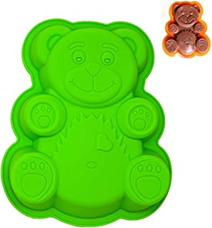 KeepingcooX 3D Bear Mousse Cake Mold Set, Approx. 8.5 Inch Cake Baking Mold - Novelty Silicone Cake Pan for Kids, Nonstick Bakeware, FDA-Approved, 8.46 x 6.89 x 0.98 Inches (Bear)