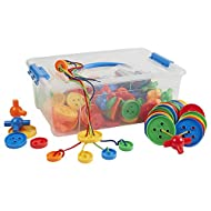 ECR4Kids Lace'em Up Buttons Math Manipulatives Building Kit, Educational Sensory Learning Toys for Children (144-Piece Set)