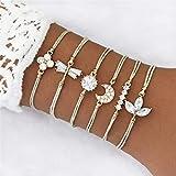 JJCDKL 6 Unids/Set Conjunto de Pulseras de Mujer Gem Shell Turtle Leaf Bead Chain Cuero Multicapa Pulsera Charm Lady Gold Jewelry Gift