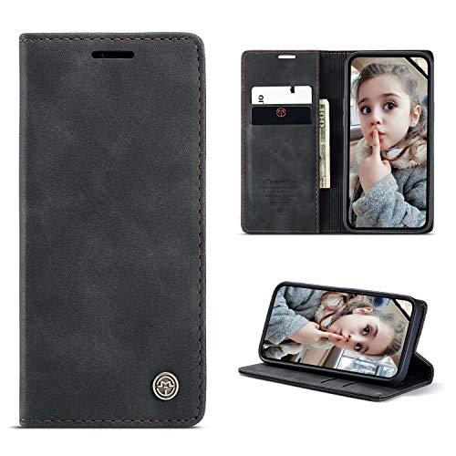 FullProtecter Hülle Kompatibel mit Samsung Galaxy A81/Note10 Lite/M60S,Premium Business Lässige Leder Flip Schutzhülle Tasche Handyhülle Ledertasche Klapphülle Klapphülle Tasche, Schwarz