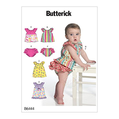 Butterick Patronen 6444 YA5,Baby's Top,Jurk en slip,Maten NB-XL, Tissue, Multi-Colour, 17 x 0.5 x 22 cm